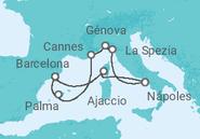 Itinerário do Cruzeiro  Espanha, França e Itália - MSC Cruzeiros
