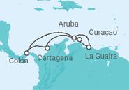 Itinerário do Cruzeiro  Antilhas e Caribe Sul - saindo de Cartagena - Pullmantur
