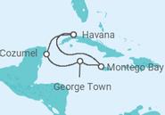 Itinerário do Cruzeiro  Cuba, Jamaica, Ilhas Cayman, México - MSC Cruzeiros