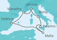 Itinerário do Cruzeiro  Itália, Malta, Espanha, França - MSC Cruzeiros