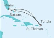 Itinerário do Cruzeiro  Estados Unidos, Ilhas Virgens Britânicas, Bahamas - NCL Norwegian Cruise Line