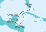 Itinerário do Cruzeiro  Estados Unidos, Honduras, Belize, México - NCL Norwegian Cruise Line
