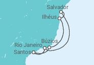 Itinerário do Cruzeiro  Costa Brasileira - saindo do Rio - MSC Cruzeiros