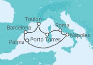 Itinerário do Cruzeiro  Cores do Mediterrâneo - Pullmantur