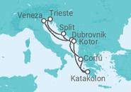 Itinerário do Cruzeiro  Itália, Croácia, Montenegro, Grécia - Costa Cruzeiros