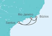 Itinerário do Cruzeiro  Búzios e Santos - Pullmantur