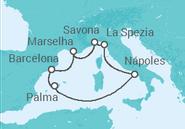 Itinerário do Cruzeiro  Itália, França, Espanha - Costa Cruzeiros