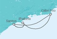 Itinerário do Cruzeiro  Cabo Frio e Ilhabela  - MSC Cruzeiros