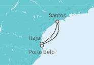 Itinerário do Cruzeiro  Itajaí e Porto Belo - Pullmantur