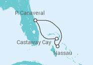 Itinerário do Cruzeiro  Flórida e Bahamas - Disney Cruise Line