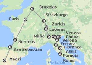 Sul e Centro da Europa: Madrid, Paris, Bruxelas, Zurique e Itália