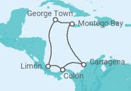 Itinerário do Cruzeiro  Caribe Legendário - Pullmantur