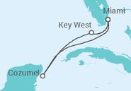 Itinerário do Cruzeiro  Estados Unidos, México - Carnival Cruise Line